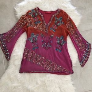 Tops - Bell-Sleeve Silk Beaded Blouse, size M